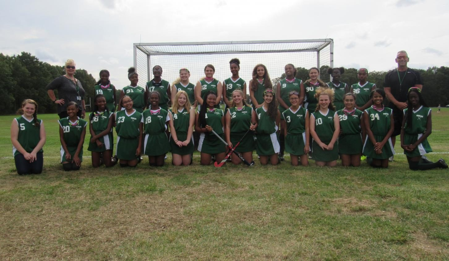 2019 WTMS Field Hockey with coaches Mr. Rossi and Ms. Hill.