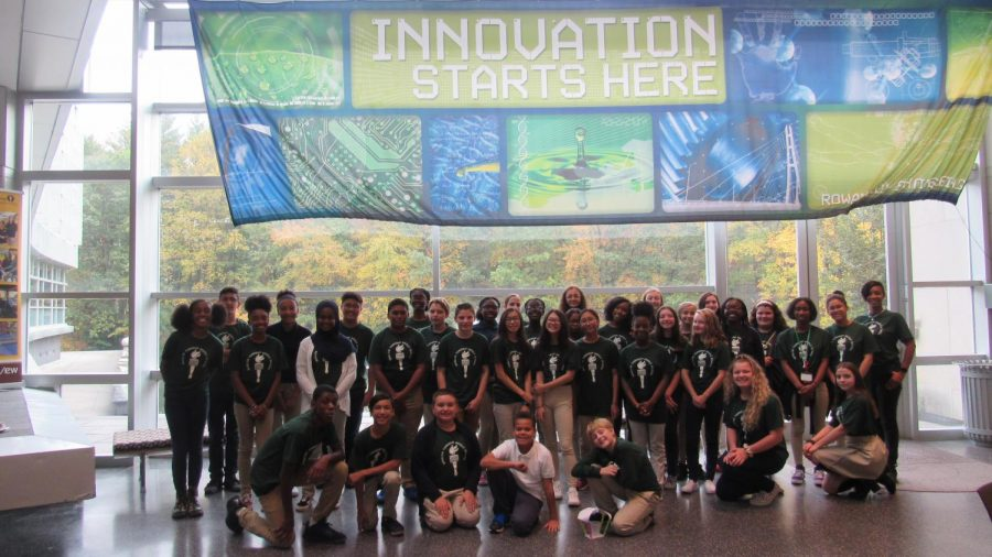 Members of NJHS pose during their first field trip of the year to Rowan University's College of Engineering.