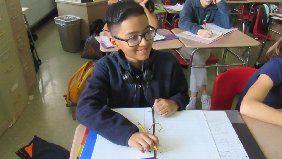 Mejia-Suarez during his math class. Teachers report he is an example to others by being on task and focusing on the subject matter.