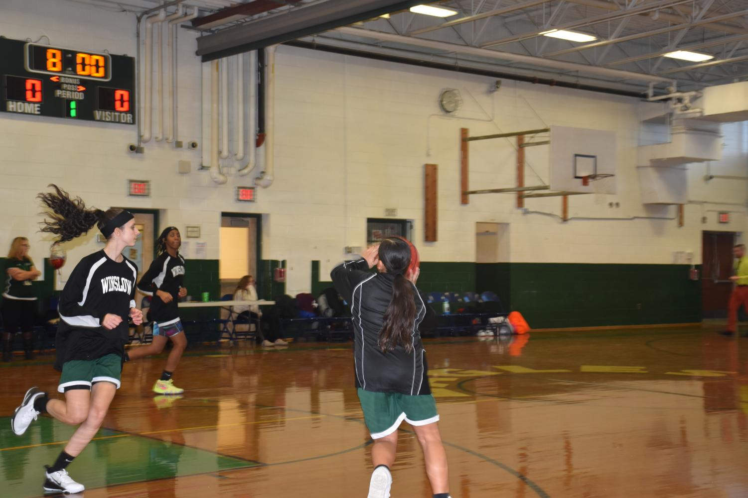 Girls warm up on December 19 before their first game vs. Hammonton.
