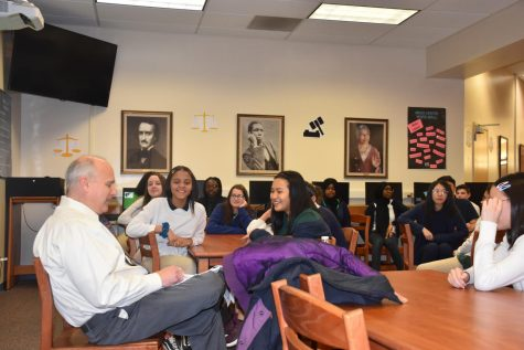 Judge Castle shares an amusing anecdote with SGA and NJHS members during his visit.