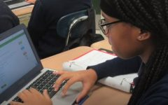 Erion Scott working diligently in class. Her work ethic was one of the traits cited by those nominating her.