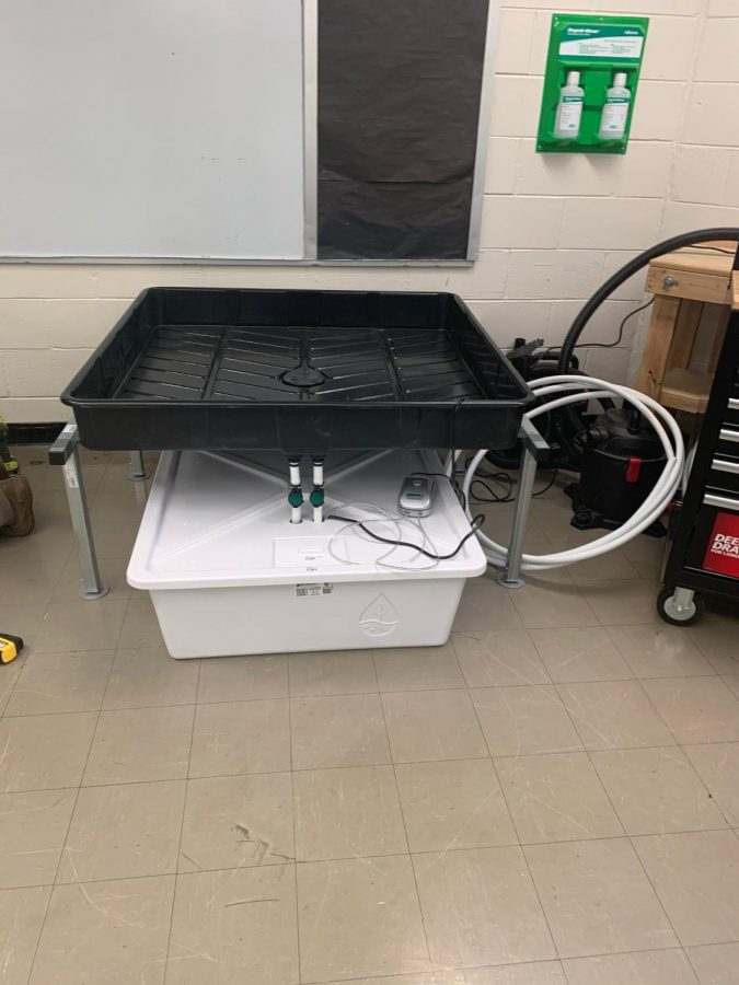 Hydroponic gardens were being built immediately before the school closed in March 2020 for the pandemic.  Here a completed hydroponic system sits waiting to be installed in the new greenhouse.