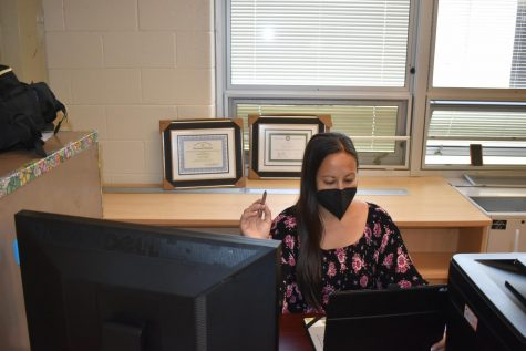 Ms. Stallard at work during the final days of the academic year. While other teachers are winding down, she