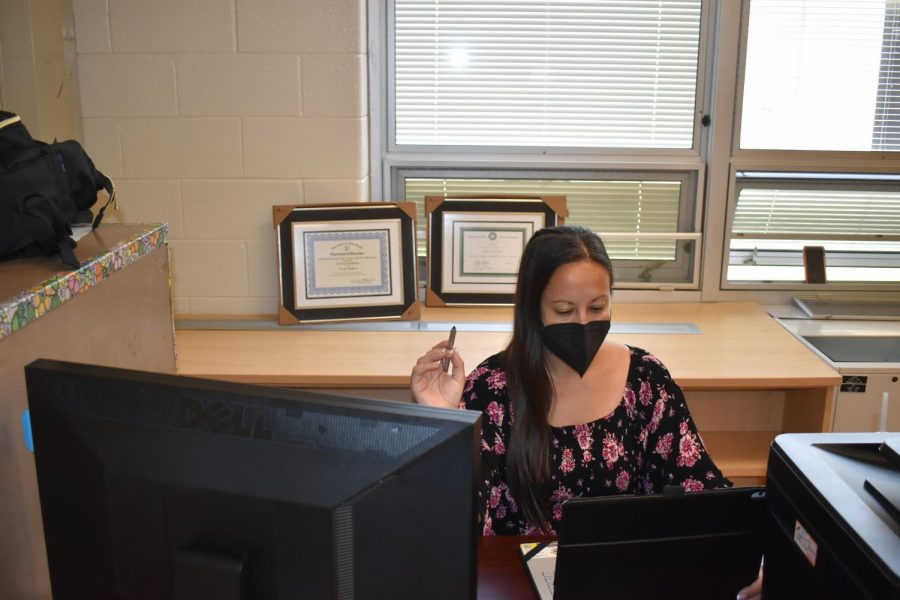 Ms. Stallard at work during the final days of the academic year. While other teachers are winding down, she's still pushing to make sure the promotional ceremony is flawless.